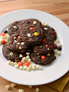 Chocolate White Chocolate Chip Cookies with M&M's - my husbands all time favorite cookie!