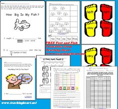 """Six free printables to use after reading Dr. Seuss' """"One Fish, Two Fish"""" and """"the Foot Book"""""""