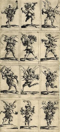 Denis Boutemie  Twelve grotesque figures ,  1638  Engraving