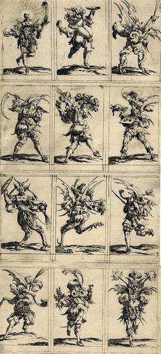 Denis Boutemie  Twelve grotesque figures ,  1638  Engraving
