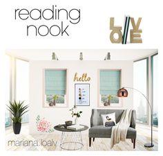 """Reading Nook 📚💕"" by marianaloalv on Polyvore featuring interior, interiors, interior design, hogar, home decor, interior decorating, Nook, Bombay Duck, Pottery Barn y LiLiPi"