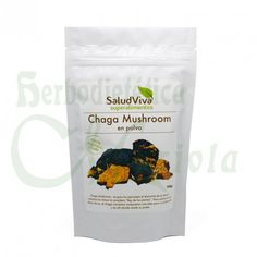 SaludViva, Chaga Mushroom en polvo, tambien conocida como la nariz de carbón, es rica en minerales y vitaminas B1, B2 y B3, así como en aminoácidos, contiene ergosterol, alto en fibras dietéticas y tiene un bajo valor calórico