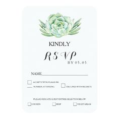 Succulent Wedding Invitations watercolor celadon succulent wedding rsvp card