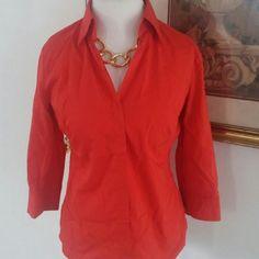 New York & Company Shirt! Bright burnt orange NY & Company button up shirt. New York & Company Tops Button Down Shirts