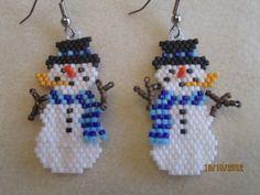 Handmade Christmas Beaded Snowman 2 by EagleplumeCreations on Etsy, $18.99