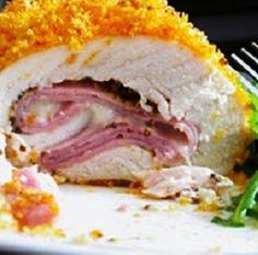 Receitas pro dia-a-dia: Peito de frango recheado com queijo, bacon e presunto (fiambre) ???