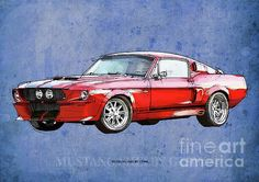 Mustang Gt500 Red, Handmade Drawing, Original Classic Car For Man Cave Decoration Drawing by Pablo Franchi