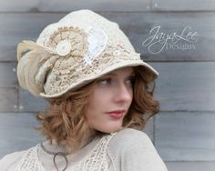 Bohemian Lace Hat Slouchy Bucket Hat Shabby by GreenTrunkDesigns