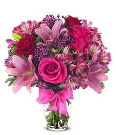 Rose And Lily Celebration Bouquet from Send Flowers! Send a pink roses and lilies bouquet to someone with a bow. Clear glass vase and card message included. Flowers Today, Flowers For You, Flowers Online, Fresh Flowers, Beautiful Flowers, Wax Flowers, Send Flowers, Seasonal Flowers, Lilies Flowers