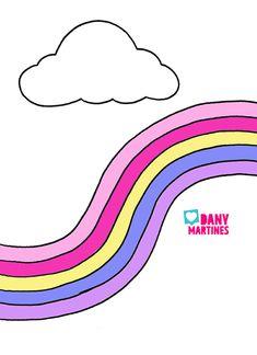 molde arco iris e nuvem para capa de caderno
