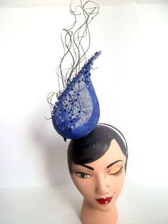 Labyrinth Inspired Royal Blue Sinamay Fascinator by ChefBizzaro, $100.00
