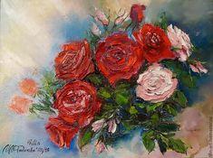 """Розы Картина маслом на холсте """"Нежность летних роз"""" - ярко-красный, розовый, синий, зеленый, розы, букет, картина маслом на холсте, картина маслом цветы, розы маслом, авторская живопись маслом, картина с розами, картина в подарок, картина для интерьера, картина с цветами, филатова, филин-арт, картина маслом от автора, букет цветов маслом, яркая картина в интерьер, картина купить минск"""