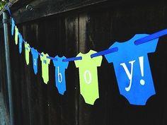 Hipster It's A Boy Onesie Banner, Little Man, Modern Green and Blue, Baby Shower