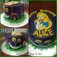 Alice in wonderland cake. Hand painted Alice on fondant. By: Dees'Licious Cakes by Dana