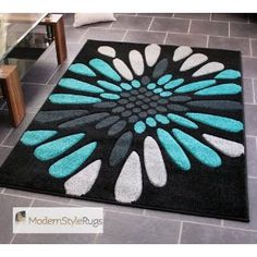 Black Grey and Teal Blue - Burst Splash Design - Very Modern Design Quality Rug…