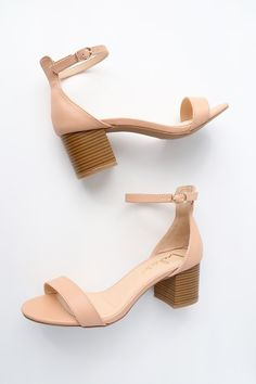 adec3b11987c Harper Almond Stacked Ankle Strap Heels