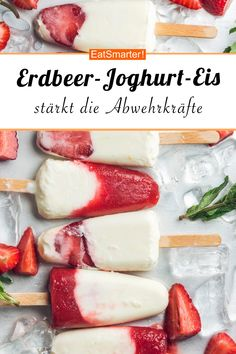 Erdbeer-Joghurt-Eis - My list of simple and healthy recipes Frozen Desserts, Ice Cream Desserts, Summer Desserts, Easy Desserts, Summer Recipes, Summer Drinks, Healthy Food List, Healthy Dessert Recipes, Healthy Snacks