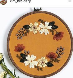 Best 12 A blush and mustard floral wreath on maroon red cotton. -This is a 7 inch hoop -maroon, cotton -Hoop is stained golden oak brown. -This is a completed hoop and ready to ship. Your hoop will arrive ready to hang on a wall or display on a shelf Etsy Embroidery, Floral Embroidery Patterns, Flower Embroidery Designs, Hand Embroidery Stitches, Modern Embroidery, Embroidery Hoop Art, Creations, Couture, Floral Wreath