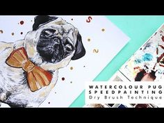 Pug watercolour painting using dry brush techniques Cute Animal Videos, Cute Animal Pictures, Watercolor Illustration, Watercolour Painting, Wild Pictures, Dry Brush Technique, Cute Animal Drawings Kawaii, Speed Paint, Dry Brushing