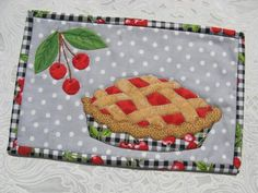 Cherry Pie/Christmas Pie Mug Rug attern $2.00 on Craftsy at http://www.craftsy.com/pattern/quilting/home-decor/cherry-pie-christmas-pie-mug-rug/59394