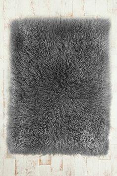 Beautiful Dark Grey Fur Rug