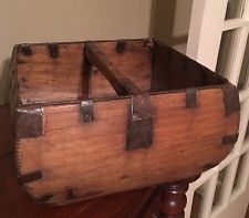 Vintage Antique Wooden Chinese Rice Basket Dovetails Great Shape Beautiful