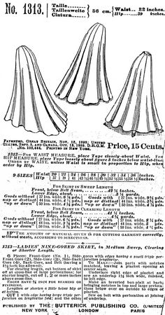 PAC1313 1899 Ladies' Nine-Gored Skirt Sewing by patternsoftime