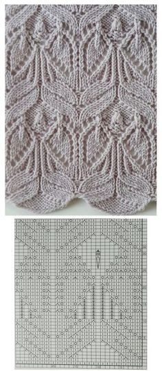 """Много ажурных узоров спицами """"leaf lace and cables --- these look a little like angels to me -- knit pattern chart"""", """"Use the chart? Wish the Pattern wa Lace Knitting Stitches, Lace Knitting Patterns, Knitting Charts, Knitting Designs, Knitting Projects, Stitch Patterns, Knitting Machine, Knitting Needles, Knitting Tutorials"""
