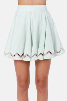 Lucca Couture Happy Godets Light Blue Skirt