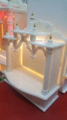Artificial Onyx Mandir Temple Design For Home, Home Temple, Pooja Room Door Design, Home Room Design, Mandir Design, Pooja Mandir, Puja Room, Tv Wall Design, House Front Design