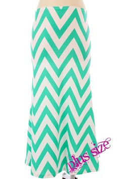 I just ordered this!!! $32.95 Plus Size Maxi Skirt Chevron Mint - Kelly Brett Boutique