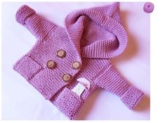 Hand Knit hooded baby coat  Duffel coat Handknit sweater Baby coat with pockets Merino hoodie Knit hoodie Pink  Grey pea coat 0-10 mnth. $98,00, via Etsy.