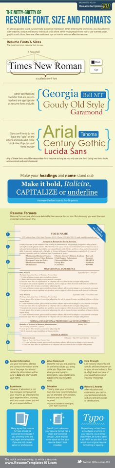 Best resume font size and format.