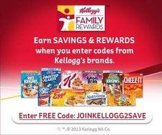Snag 125 Free Kellogg's Rewards Points before these new codes expire! :: http://www.heyitsfree.net/125-free-kelloggs-rewards-points/