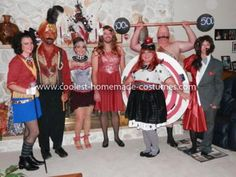 "Homemade Circus Freak Group Costume: Here are the instructions to make a Homemade Circus Freak Group Costume.  Ringmaster: Thrifted blazer cut so it had ""tails"" in back, added fringe and a"
