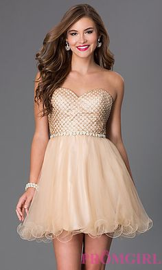 Short Strapless Sweetheart Dress by Blush at PromGirl.com