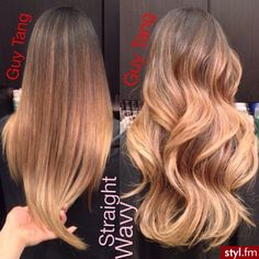 straight and wavy ombre long hair