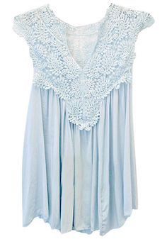 Front view of blue lace cap sleeve top » So pretty for spring and summer!