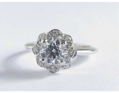 Floral Halo Diamond Engagement Ring | Blue Nile Engagement Rings