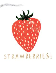 Strawberries, design, illustration, simple, food, drawing, design, type, lettering, texture