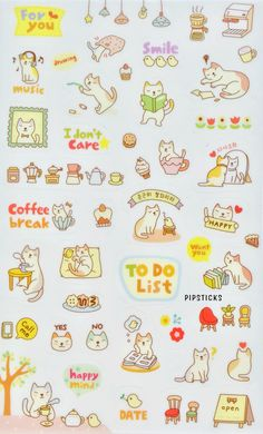 These kittens are planner ready, stick them up in your day to day decoration! They will remind you to take much needed coffee breaks, be happy, or get on that ever-growing to-do list. Click here to learn more about the Pipsticks sticker kingdom! http://blog.pipsticks.com/kawaii-stickers/