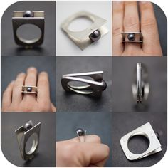 Tahiti Black Pearl Split Shank Riveted Ring - size 9. $195,00, via Etsy.
