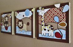 Wall Art, Monkey Lion Giraffe Nursery Art