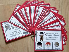 """These Emotions, """"How Would You Feel?"""" Task Cards include 1 complete set of Task Cards with a total of 32 cards included that focus identifying feelings/emotions in a given situation. On each task card, students are given a situation and then asked to identify how they would feel in that situation. Answers may vary, so these task cards really work well in small group discussions. But these task cards can be used so many ways! Use these task cards in independent workstations, learnin"""