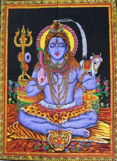 Handmade-Indian-Goddess-Wall-Hanging-Lord-Shiva-Poster-Hippy-Tapestry-Hindu-God