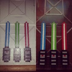 Lightsabers Star Wars perler beads by the_b3ard3d_lady