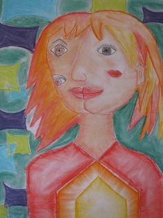 """5th grade Cubist style pastel portrait; 15""""X22""""; lesson by art teacher: Susan Joe"""