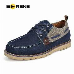 3a908e1f707 Serene Men  s Suede Leather Shoes British Style Lace-Up Boat Shoes Zapatoas  Hombre Men s Casual Flats Spring 5195