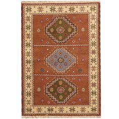 Herat Oriental Indo Hand-knotted Tribal Kazak Rust/ Ivory Rug