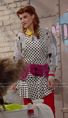 Sally's printed and colorblock shirt and polka dot apron on The Bold and the Beautiful. Outfit Details: https://wornontv.net/65341/ #TheBoldandtheBeautiful